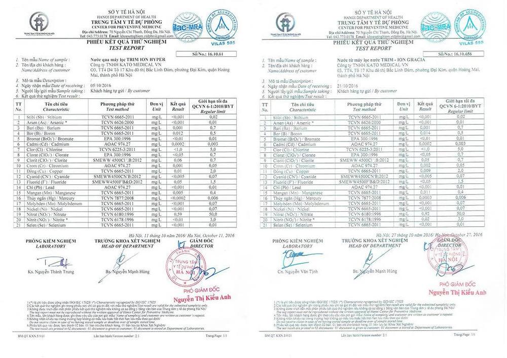 Kết quả test nước sở y tế Hà Nội  - Hyper và Gracia
